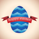 Blue Easter egg with a red flag greeting Stock Image