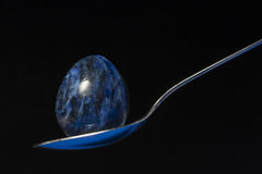 Blue Easter Egg Spoon Royalty Free Stock Images