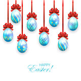 Blue Easter eggs with bow Stock Images