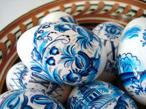 Blue easter eggs in a dish royalty free stock image