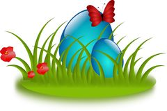 Blue easter eggs in grass Stock Image