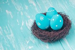 Blue Easter Eggs In Nest Royalty Free Stock Photography