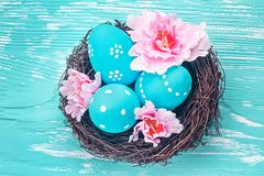 Blue Easter eggs in nest Stock Photography