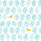 Blue Easter eggs in rows with chickens Stock Photography