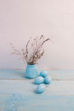 Blue Easter eggs on wooden background. Stock Photo