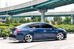 Blue ECO Car Sedan in VIP Style Stock Image