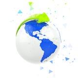 Blue eco globe - polygonal Stock Image