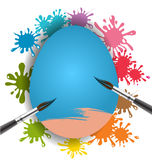Blue egg and brush on colorful paint splash. For Easter day card stock illustration