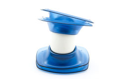Blue eggcups with egg Royalty Free Stock Photos
