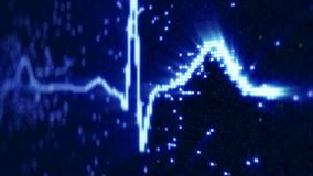 Blue EKG electrocardiogram waveform on monitor. Abstract health care concept. Computer generated illustration rendered with shallow DOF Royalty Free Stock Photos