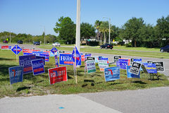 Blue Election vote signs along the road Royalty Free Stock Image