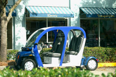 Blue electric car. For alternative trnasportation Stock Photos
