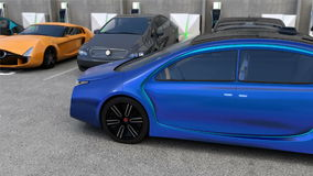 Blue electric car back to parking space without driver in it stock video
