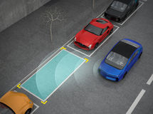 Blue electric car driving into parking lot with parking assist system Royalty Free Stock Image
