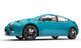 Blue Electric Car - Side View Stock Images