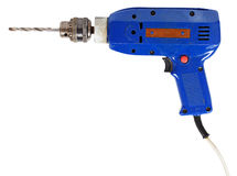 Blue electric drill Royalty Free Stock Images
