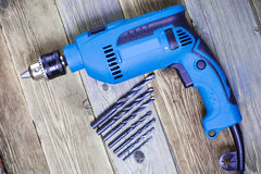 Blue electric drill Stock Photos