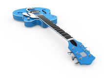 Blue electric guitar Royalty Free Stock Images