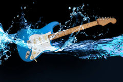 Blue electric guitar. With splashed water Stock Photography