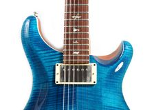 Blue electric guitar. Electric guitar isolated on white Royalty Free Stock Image