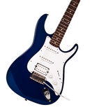 Blue electric guitar closeup Stock Photo