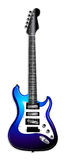 Blue Electric Guitar Illustration. Isolated Blue, white and black guitar (on white background vector illustration