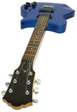 Blue electric guitar, isolated. With shadow Royalty Free Stock Photo