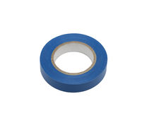 Blue electric insulation tape, isolated. On the white background Royalty Free Stock Images