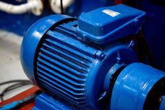 Blue Electric Motor Close Up Royalty Free Stock Photography