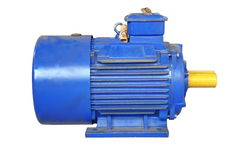 Blue electric motor with yellow shaft. Big industrial motorfor moving parts machines at factory Stock Photo