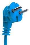 Blue electric plug Royalty Free Stock Images