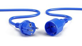 Blue Electric plugs  on white Royalty Free Stock Images