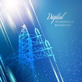 Blue electric power transmission tower. Stock Photo