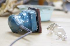 Blue Electric Sander Stock Photo