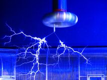 Blue Electric Sparks Stock Photo
