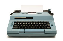 Blue electric typewriter on white Royalty Free Stock Photography