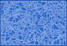Blue electro scheme on graph paper Royalty Free Stock Photography