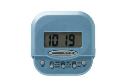 Blue electronic alarm clock isolated Royalty Free Stock Photo
