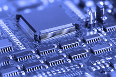 Blue Electronic Circuit board Stock Photos