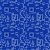 Blue electronic circuit board with gray solder vec. Blue electronic circuit board with silver solder - vector seamless pattern Royalty Free Stock Photos
