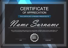 Blue Elegance horizontal certificate with Vector illustration ,b. Lack frame certificate template with clean and modern pattern presentation Stock Photo