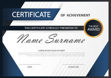 Blue Elegance horizontal certificate with Vector illustration ,white frame certificate template. With clean and modern pattern presentation stock illustration