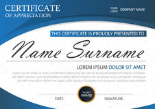 Blue Elegance horizontal certificate with Vector illustration ,white frame certificate template with clean and modern pattern Stock Image