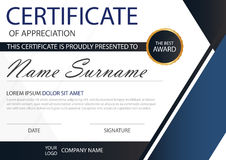 Blue Elegance horizontal certificate with Vector illustration ,white frame certificate template with clean and modern pattern Royalty Free Stock Photography