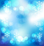 Blue elegant abstract background with bokeh lights on Christmas. Night vector illustration