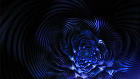 Blue elegant fantasy flower on black background stock video footage