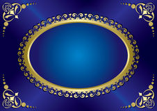 Blue elegant vintage card with gold frame - eps 10 Royalty Free Stock Image