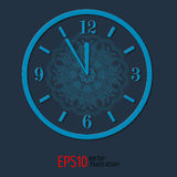 Blue elegant vitage clock for new year and christmas design. vector illustration with lacy pattern. Royalty Free Stock Photo