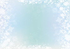 Blue elegant winter background with snowflake border Royalty Free Stock Photography