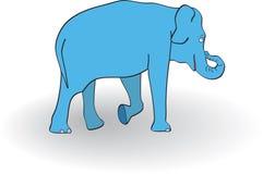 Blue elephant. On white background. Vector illustration Stock Image